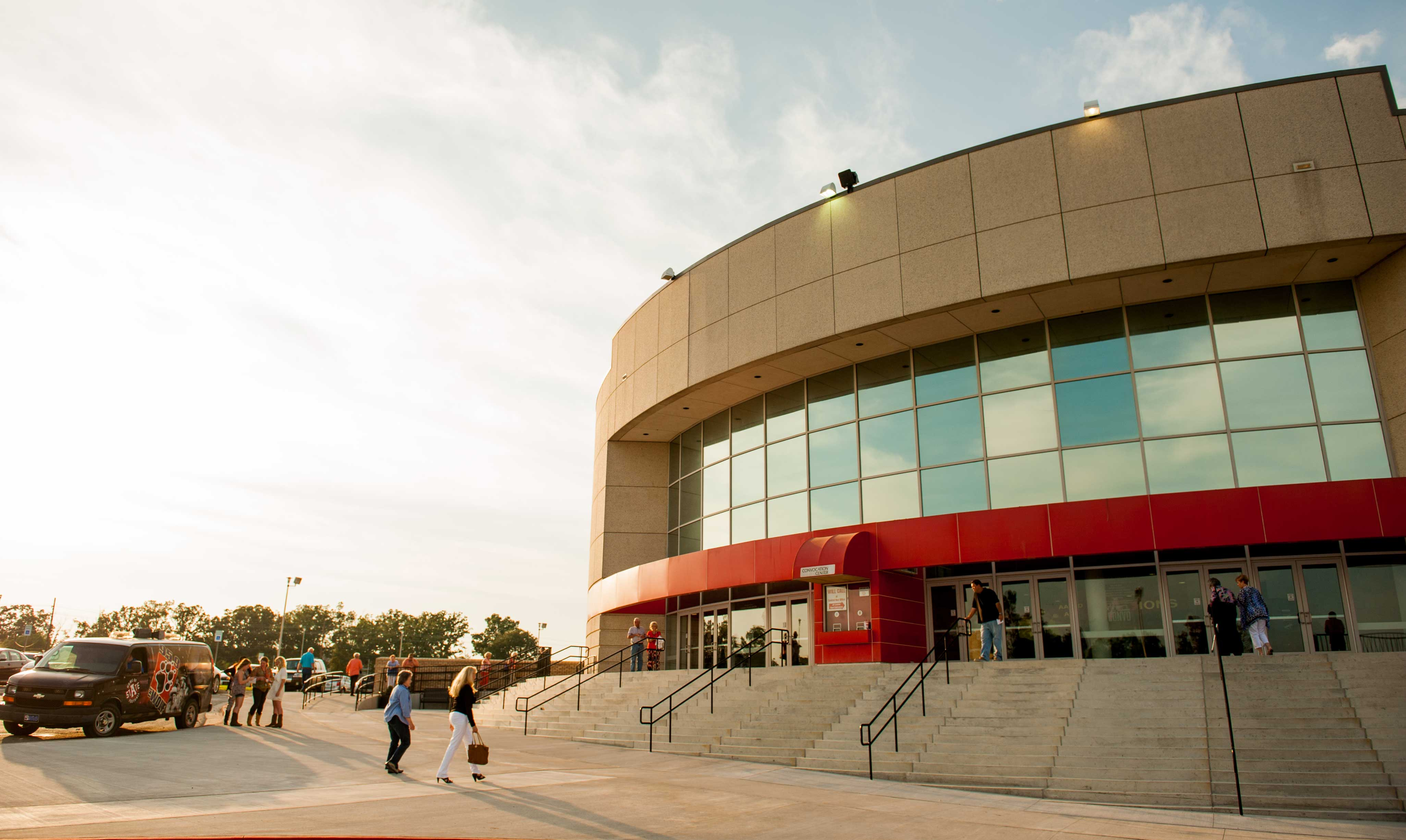 The red entrance of the Convocation Center